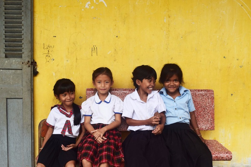 Picture of four cambodian school children