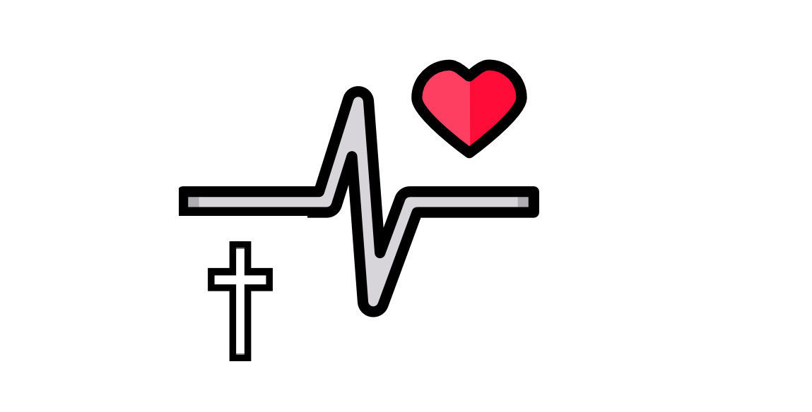 graphic of an ecocardiogram, a cross, and a heart