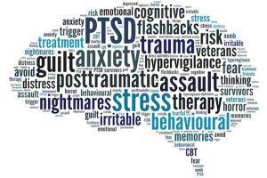 word cloud for trauma - ptsd, anxiety, guilt, hypervigilance, stress, therapy, etc.