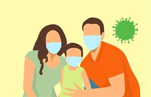 cartoon of two parents and a child with masks and coronavirus