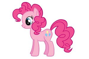 Cartoon-like pink horse with flowing mane