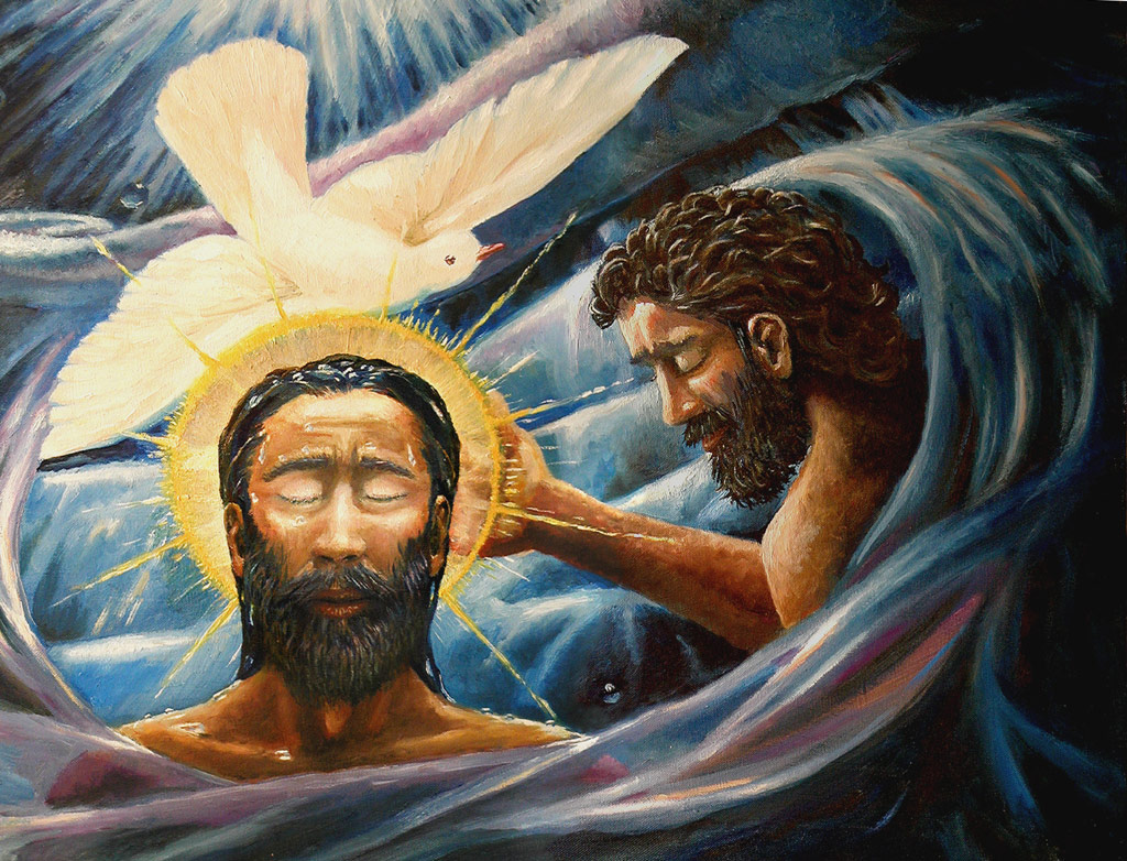 Baptism of Christ painting by Dave Zalenka