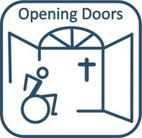 wheelchair user approaches opening church doors